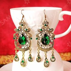 Mujeres Gotas De Cristal De Bohemia De colección Verde Pendiente Colgante Joyería CB
