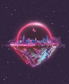 I like that the picture shows a planet that has one side with buildings, and the other just mountains. I also like the colors that were used in the city. Aesthetic Images, Aesthetic Wallpapers, Blue Aesthetic Pastel, Album Cover Design, Cute Girl Wallpaper, Geometric Logo, Graphic Design Trends, Matte Painting, Surreal Art