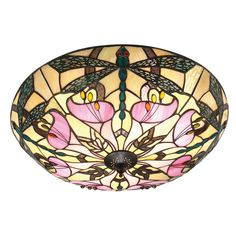 Ashton Large Tiffany Style Two Light Flush Ceiling Fixture - Interiors 1900 63922 - Netlighting Ltd