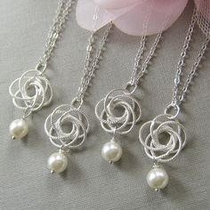 SET of 5 Silver twisted flower pearl necklace, bridesmaids necklace, wedding jewelry - W005 (Choose your pearl colour) on Etsy, $70.00