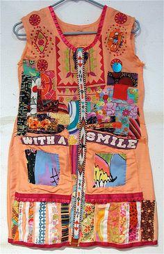 Orange Upcycled Native / Tribal TUNIC TOP Embroidery Beaded  mybonny