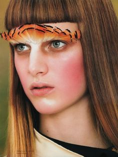 """Roe Ethridge photographed """"Point of Aim"""" with hair by Duffy and makeup by Yadim for the first issue of Opening Ceremony Annual magazine. Feather Eyelashes, Unique Makeup, Face Forward, Duffy, Opening Ceremony, Makeup Inspiration, Eyebrows, Beauty Makeup, Make Up"""