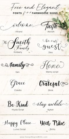 Free and Elegant Fonts for Farmhouse Signs <br> We all have those Joanna Gaines' moments when we want to go all out with the farmhouse chic style and rightfully so. Joanna's style is tra… Farmhouse Font, Farmhouse Signs, Farmhouse Chic, Free Font Design, Font Free, Free Script Fonts Download, Free Fonts For Cricut, Free Cursive Fonts, Best Handwriting Fonts