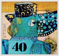 Fishing for time... acrylics on paper  25x25cm   Elke Trittel