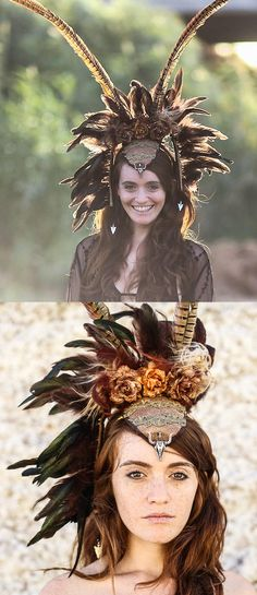 Handmade on Etsy Burning Man pheasant feather wings headpiece hat. Made with natural pheasant feathers. The color scheme of these undyed feathers is shades of caramel, brown and black. Wedding ideas feather headband. Festival outfits. Fall Winter Wedding Ideas. Burning Man Festival outfits. Mardi Gras ideas. #burningman #handmade #tribal #fastivalwings #festivals #raveoutfits #burningmanfestival #ootd #fashion #fashionista #affiliatelink #wings #mardigrasoutfits