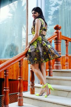 Peek - a -boo Floral dress and Neon heels