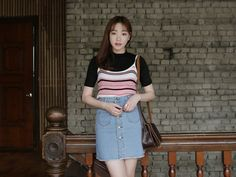 Dress Up Confidence! 66girls.us Fringed Button Front Skirt (DHMD) #66girls #kstyle #kfashion #koreanfashion #girlsfashion #teenagegirls #younggirlsfashion #fashionablegirls #dailyoutfit #trendylook #globalshopping