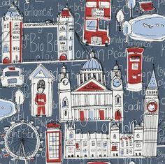 Children's City of London Wallpaper - Decor A List Feature Wallpaper, Wallpaper Decor, Cool Wallpaper, Pattern Wallpaper, London Bus, London City, Sticky Back Plastic, Baby Prints, Playroom