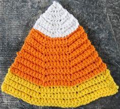 Candy corn dishcloth ~free pattern