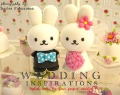 rabbit and bunny wedding cake topperk923 by kikuike on Etsy