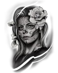 Dmitri Borrodatch Skull Girl Tattoo, Girl Face Tattoo, Skull Tattoos, Body Art Tattoos, Tatuajes Tattoos, Chicano Tattoos, Bild Tattoos, Day Of The Dead Tattoo Designs, Day Of Dead Tattoo