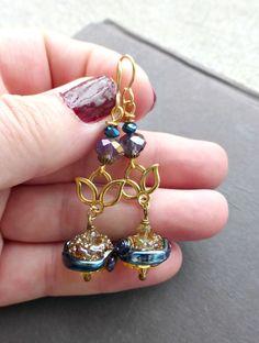 Gold lotus flower. Blue, purple and gold. 24K gold, glass lampwork drop earrings.