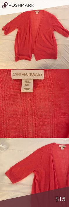 Orange light weight three quarter length cardigan Super light weight orange cardigan.  Three quarter sleeves.  Perfect for spring/summer.  Perfect condition Sweaters Cardigans