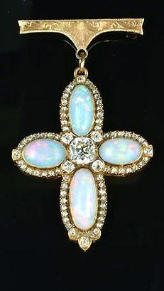 A 19th century opal and diamond cross pendant/brooch, circa 1880