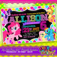 My Little Pony Printable Personalized Invitation 4x6 by CocoaParty