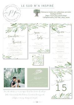 Wedding Stationery Set to print - PDF - Save the date, wedding invitation, RSVP, table numbers, menu ...- OLIVE