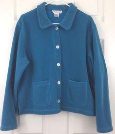 Talbots Sweater Jacket Soft Fleece Cardigan 5 Button Blue Round Collar Size L #Talbots #Cardigan #Casual