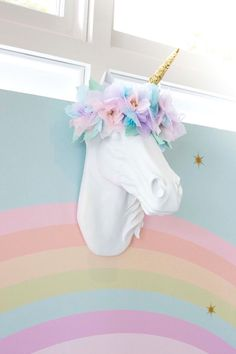 Unicorn head wall mount from a Floral Rainbow Glam Unicorn Birthday Party on Kara's Party Ideas | KarasPartyIdeas.com (7)