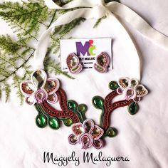 Collar Orquídeas Soutache •••Accesorios M2C••• Soutache Venezuela +584149565090 Envíos Internacionales y Ventas al Mayor!