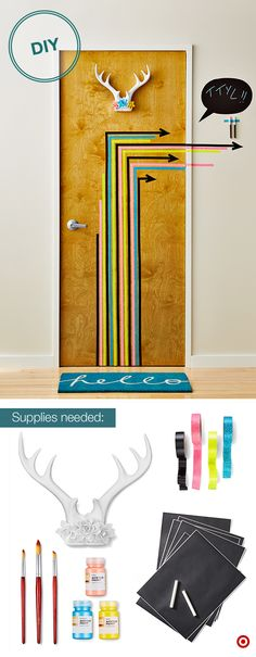 Make a cool first impression with a decked out dorm room door. Start by creating some fun, Washi tape arrows. Hang a pair of antlers strips will d… – Dorm Room Dorm Room Doors, Dorm Door, Washi Tape Dorm, Just In Case, Just For You, Glass Cabinet Doors, Glass Doors, College Dorm Rooms, College Life