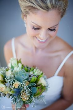 Laid Back L'Agulhas South African Wedding with succulents and fynbos bridal bouquet