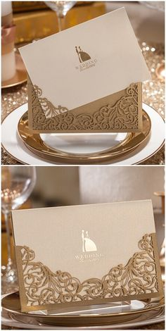 elegant metallic gold laser cut pocket wedding invitations by Wedding Invitations Elegant Modern, Laser Cut Wedding Invitations, Wedding Stationary, Wedding Invitation Cards, Wedding Cards, Event Invitations, Trendy Wedding, Our Wedding, Dream Wedding