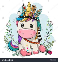 Illustration about Cute Cartoon Unicorn with feathers on a blue background. Illustration of dress, indian, feather - 160836087 Unicorn Drawing, Unicorn Art, Cute Unicorn, Cartoon Cartoon, Cartoon Unicorn, Cartoon Characters, Illustration Mignonne, Cute Illustration, Unicorn Illustration