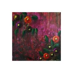 NOVICA Signed Modern Indian Artwork Painting of Flowers (1,005 AED) ❤ liked on Polyvore featuring home, home decor, wall art, modern and freestyle, paintings, acrylic painting, blossom painting, rose wall art, novica paintings and novica