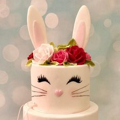 Bunny Rabbit Birthday first Cake Roses Pretty rabbit cake Kids Cakes Bunny Birthday Cake, Pretty Birthday Cakes, Easter Bunny Cake, Bunny Party, Baby First Birthday, First Birthday Parties, First Birthdays, Pretty Cakes, 1st Birthday Cake For Girls