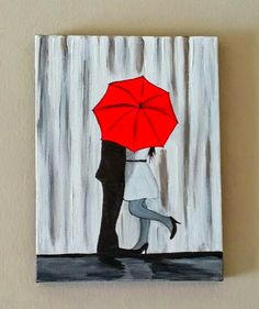 SALE Couple in rain paintingCouple kissing in the by ArtbyRangrez