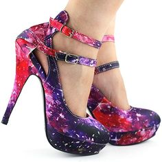 Show Story Multicolored Night Sky Mary Jane Cut Out Stiletto Party Pump, | Pumps