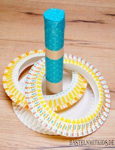 Mit Papiertellern basteln und ein tolles Wurfspiel selber machen mit Kindern. http://bastelnmitkids.de/