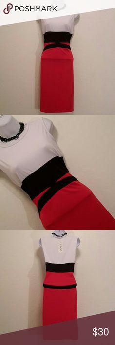 🎉HP🎉🆕 FINEJO L Colorblock Pencil Dress Gorgeous, Stretch, Sleeveless, Cool Print, Nice. Finejo Dresses