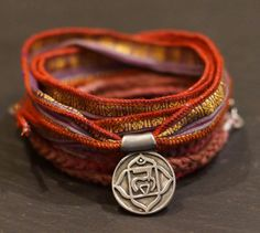 Root chakra/ Warrior Wrap/bracelet/necklace by ALCCREATIONS, Bohemian Zen Jewelry, Warrior Wraps, Pay It Forward, $68.00, hand dyed cotton, sari silk, pewter, stainless steel