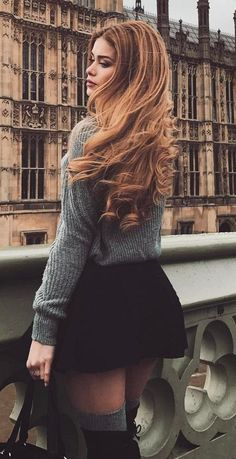 cozy fall inspiration / knit sweater + bag + skirt + over knee boots