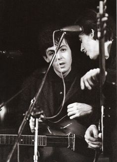Paul and George at the Top Ten Club, Hamburg, 1961.Photo by Juergen Vollmer.