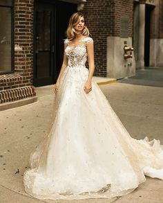 Mila Nova Bridal Wedding Dress Collection - A-line wedding gown with floral top and illusion details Unusual Wedding Dresses, Lace Wedding Dress, Pink Wedding Dresses, Bohemian Wedding Dresses, Long Sleeve Wedding, Designer Wedding Dresses, Wedding Dress Styles, Wedding Gowns, Wedding Wear