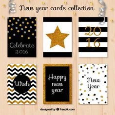Glitter new year cards collection Premium Vector Birthday Card Design, Birthday Cards, Deco Nouvel An, Christmas And New Year, Christmas Cards, Diy And Crafts, Paper Crafts, Happy Wishes, New Year Card
