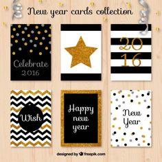 Glitter coleção cartões de ano novo Vetor Premium