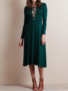Green Plunge Neck Lace Up Front Long Sleeve Midi Skater Dress