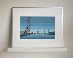 London Eye Skyline art print by South Island Art Framed Fabric, Framed Prints, Etsy Seller, Creative, Artist, Handmade, Travel, Inspiration, Inspired