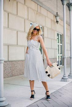 4c4e29e1fa38 striped midi dress - Striped Midi Dress And Summer Accessories featured by popular  Houston fashion blogger