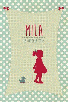 Geboortekaartje Mila - Pimpelpluis - https://www.facebook.com/pages/Pimpelpluis/188675421305550?ref=hl (# silhouet - meisje - eendje - dieren - lief - origineel)