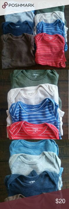 Lot of 8 Baby Boy Carter's Long Sleeve Bodysuits Lot of eight long sleeved bodysuits. All in excellent condition!  Left top to bottom: blue, grey, navy, brown  Right top to bottom: green, tan, blue & white stripe, red & white stripe Carter's One Pieces Bodysuits