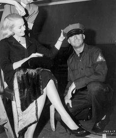 """Eva Marie Saint and Cary Grant clown around on the set of """"North By Northwest"""", This was shot at the LaSalle Street Station which no longer stands. Alfred Hitchcock's only film that ever shot in Chicago. North By Northwest, Golden Age Of Hollywood, Vintage Hollywood, Hollywood Stars, Classic Hollywood, Hollywood Glamour, Alfred Hitchcock, Hitchcock Film, Cary Grant"""