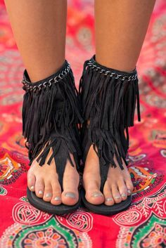A Walk To Remember Mid-Calf Fringe Sandals (Black) Fringe Sandals, Cute Sandals, Black Sandals, Cute Shoes, Black Shoes, Me Too Shoes, Black Wedges, Strappy Sandals, Cheap Fashion
