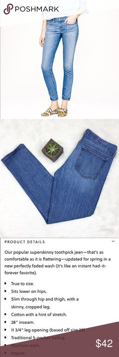 J.Crew Toothpick Jeans in Northport Wash J.Crew toothpick jeans in northport wash. Size 28 with 27' inseam. These are ankle length jeans. EUC with no major flaws.  ❌No trades ❌ Modeling ❌No PayPal or off Posh transactions ❤️ I 💕Bundles ❤️Reasonable Offers PLEASE ❤️ J. Crew Jeans Skinny