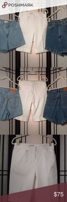 "❤ Women's Vintage Shorts - Lot of 3 - Waist 30"" ❤ All 3 pair are gently used - In excellent condition!  	* Lot of 3 - Women's Cotton and Jean Shorts - BG51 	* Items come from a smoke-free home   Levi's Low Shorts Size: 9 Waist: 30 inches Rise: 10 inches Inseam: 4 inches  Calvin Klein Jeans Cuff Shorts Size: 12 Waist: 30 inches Rise: 13 inches Inseam: 4.5 inches  Jones New York Sport Stretch Shorts - Bermuda / Walking Shorts Size: 6 Waist: 30 inches Rise: 10 inches Inseam: 12.5 inches…"