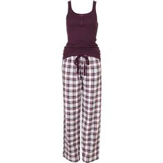 Check Pj Set (46 CAD) ❤ liked on Polyvore featuring intimates, sleepwear, pajamas, pijamas, pyjamas, women, cotton sleepwear, cotton pajama set, cotton pyjamas and cotton pjs
