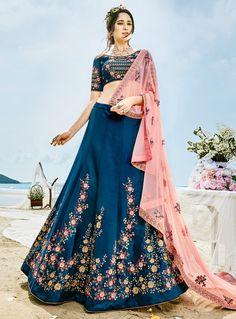 Navy Blue Silk A Line Lehenga Choli 128065
